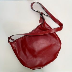 Latico Red Leather Bucket Crossbody Bag
